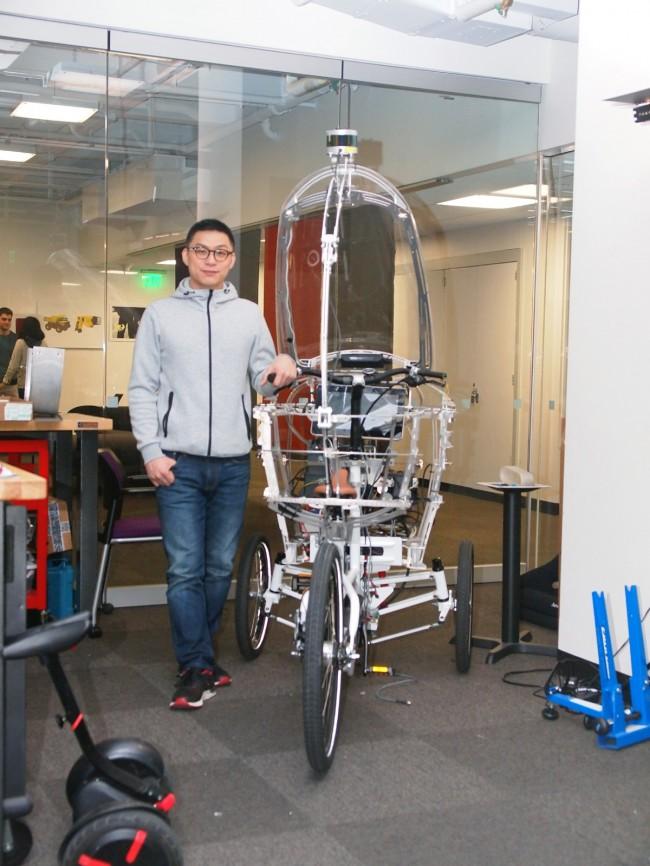 소형, 경량 자율주행 전기자동차(PEV)를 개발 중인 마이클 린 MIT 미디어랩 연구원 - 윤신영 제공